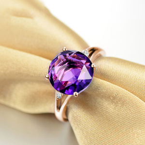 Image 3 - SLFD Natural Amethyst 18K Pure Gold 2020 New Hot Selling Top Ring Women Heart Shape Ring  For Ladies  Woman Genuine Jewelry
