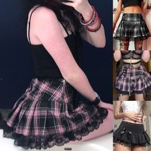 Skirts Aesthetic Dark-Academia Goth Plaid Pink Trim Lace Sweetown Punk E-Girl Y2K Stripe