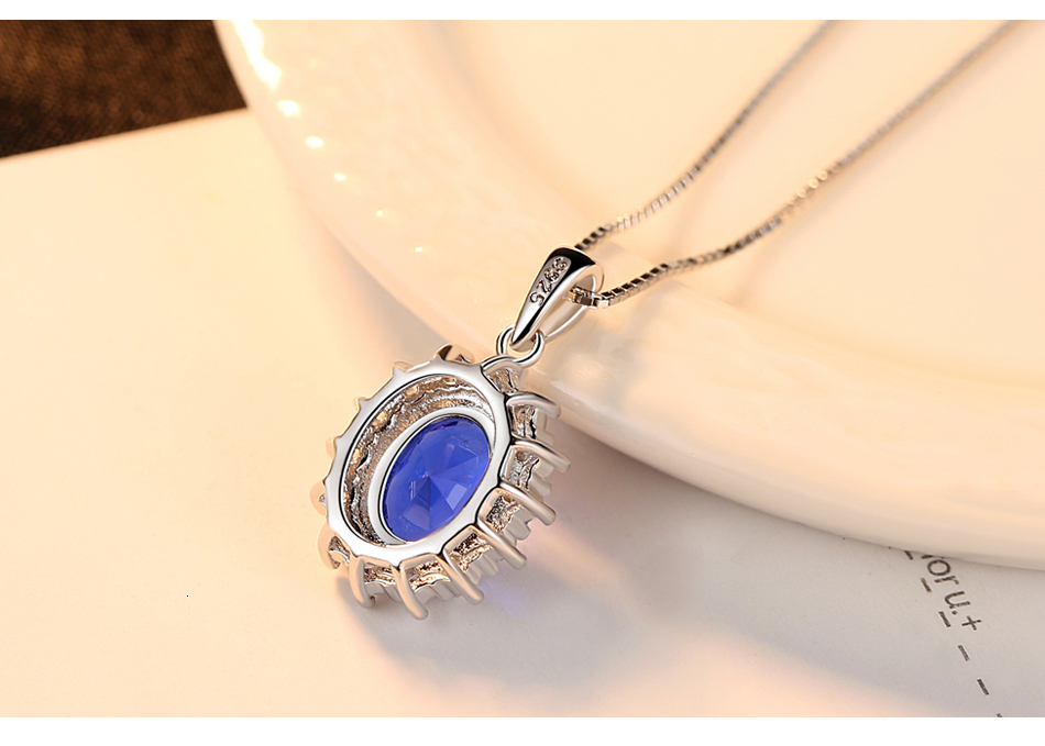 He57c4968af044e4090d5a302647bb05aA CZCITY Elegant Oval Princess Diana William Sapphire Pendant Necklace for Women 100% 925 Sterling Silver Charms Necklace Jewelry