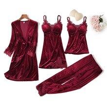 Модные бархатные пижамы для беременных, 4 шт., теплые зимние пижамные комплекты для женщин, сексуальный кружевной халат, пижама, комплект ночного белья без рукавов