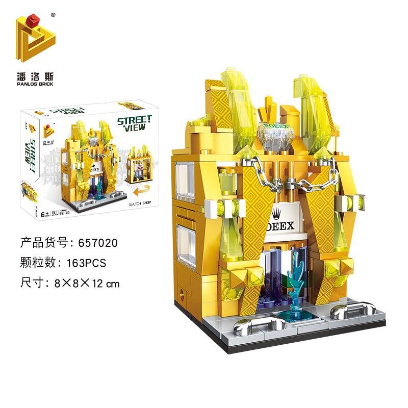 Mini Lego City Street View Block Retail Store Restaurant DIY Building Blocks Compatible lego technic Tech Building kids Toys - Цвет: 657020