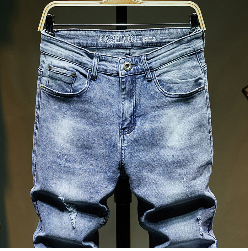 KSTUN Ripped Jeans for Men Slim Fit Light Blue Stretchy Fashion Mens Torn Jeans rip Moto Biker Jeans Pants Men Trousers Hip Hop Boys 13