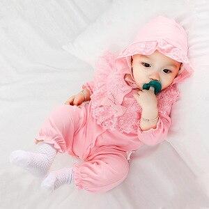 Image 4 - ملابس للأطفال حديثي الولادة من القطن مع ربطة رومبير مع طقم برنات للأطفال حقيبة نوم باللون الأبيض والوردي بشكل عام ملابس للأطفال حديثي الولادة ملابس للأطفال حديثي الولادة 3 متر 6 متر 9 متر 1t هدية
