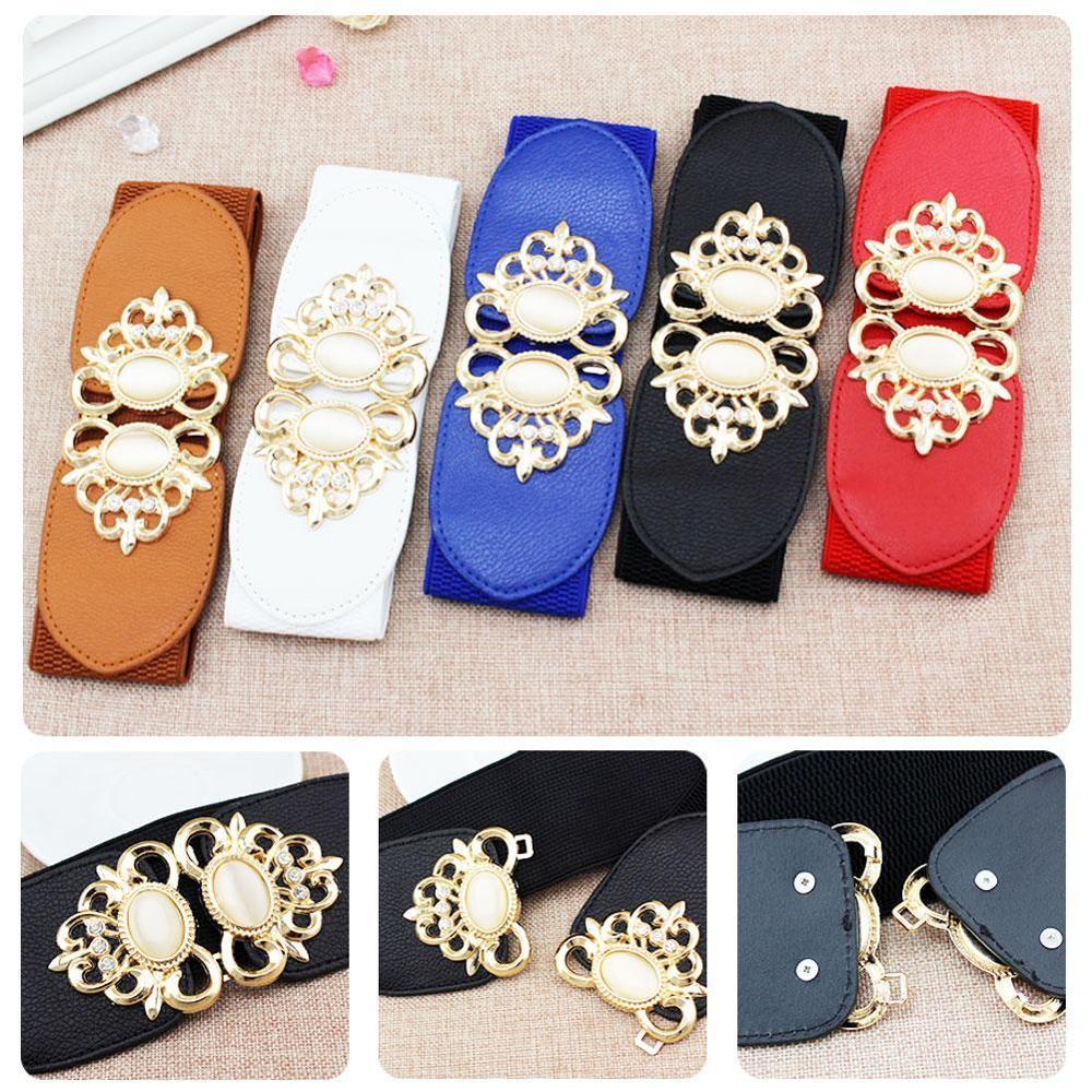 Fashion Stretch Wide Belt Women Designer Cinch Belt For Dress Female Luxury White Waistband Elastic Red Waist Cummerbund