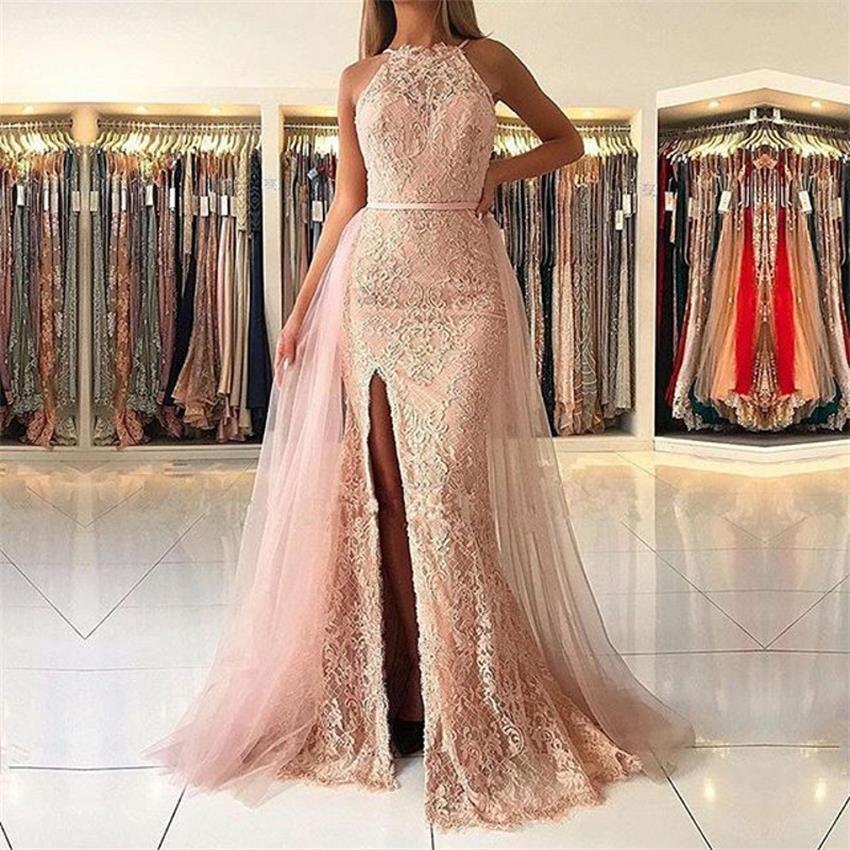 Charmante robe de soirée sirène 2019 robe de soirée longue sur mesure longue robe formelle rose amovible Train vestido de festa
