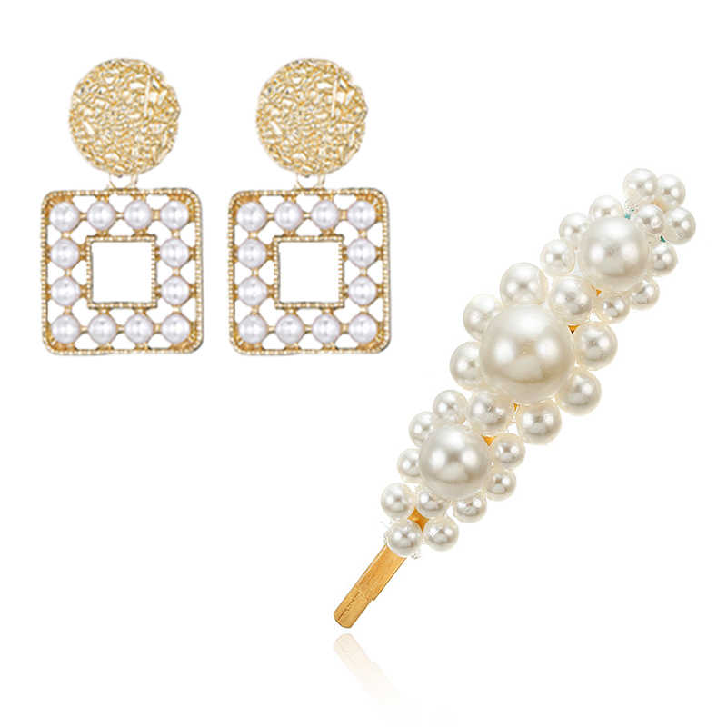 Hot Fashion Pearl Hair Clip Hairpin + Earrings Exquisite Round Geometric Pearl Dangle Earrings For Women Jewelry Set