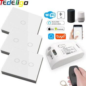 Tuya Smart App Wifi Light Controller Touch Wall Switch RF Wireless 433Mhz RemoteControl AC110V220V GoogleHome Alexa Timer Module недорого