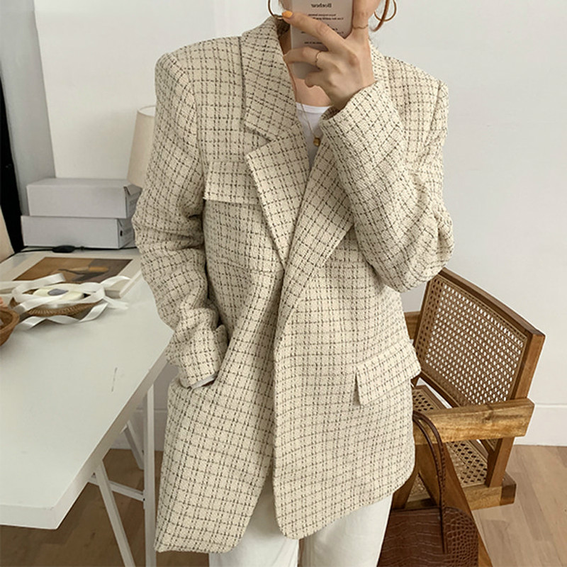Drop Shipping Vintage Chic Plaid Suit Jackets Female Elegant Notched Collar Loose Grid Women Blazers 2020 Spring Outerwear