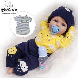 55cm Bebe Reborn muñeca de cuerpo de algodón de vinilo de silicona amarillo bebé muñecas juguetes para niños para niño cumpleaños regalos de navidad