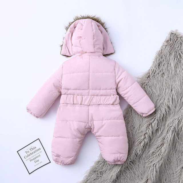 Winter Infant Baby Romper Boys Girls Jacket Hooded Jumpsuit Warm Thick Long Sleeve Zipper Coat Outfit Baby Boy Clothes Newborn 3