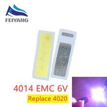100 perles LED SMD 4014, blanc froid, 1W 6V, 4020 ma, pour TV/LCD, rétro-éclairage LED, haute puissance, remplace 6V