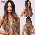 Длинные волнистые парики henmargu с эффектом омбре, блонд, коричневый, синтетические парики для чернокожих женщин, парики для косплея средней ч...