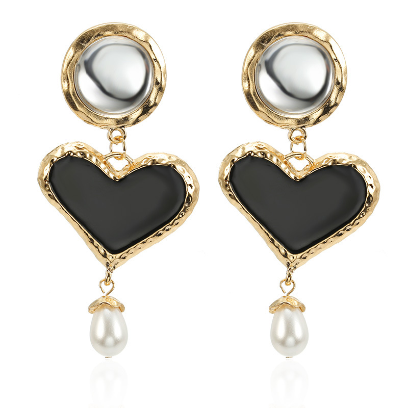 2019 New metal Heart-shaped Hanging Dangle pearl Earrings Fashion Simple Personality High Quality exquisite ear nail