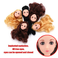 11inch BJD Doll Accessories Doll Head 1/6 Original Doll Head 4D  Real Eye Long Hair DIY Cheap Toys for Girl Bjd Wig Girls Toys 5pieces lot soft plastic open eye practice makeup doll head 1 6 white double fold eyelid diy heads for barbies bjd make up