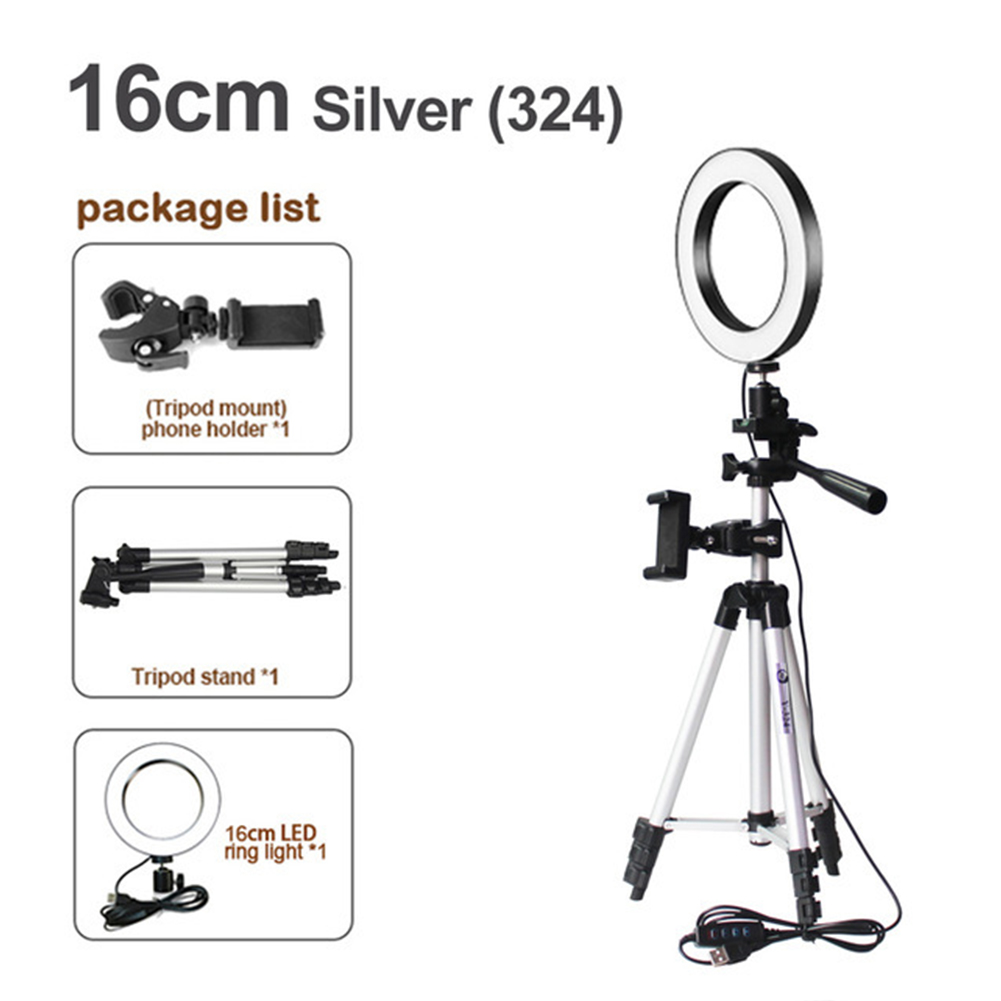 16cm Video Tripod Stand Phone Holder Makeup Removable Photography Selfie Ring Light Set Bright Led Aluminum Alloy Anti Slip|Phone Holders & Stands| |  - title=