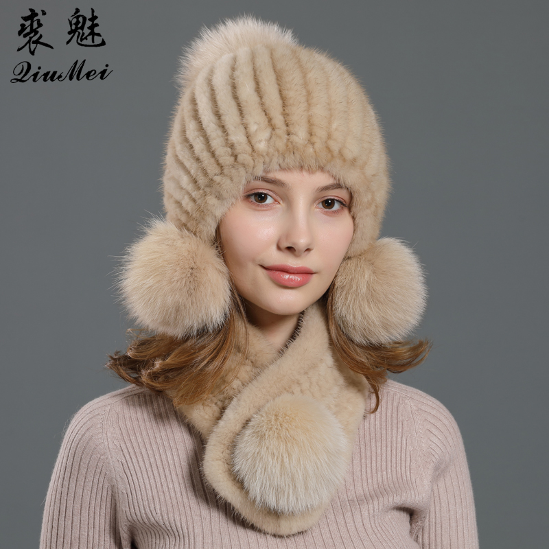 Mink Fur Scarf And Cap Set For Women Unique 3 Pompom Fox Fur Natural Real Fur Scarf Ladies Knitted Lined Winter Beanie Sets 2pcs
