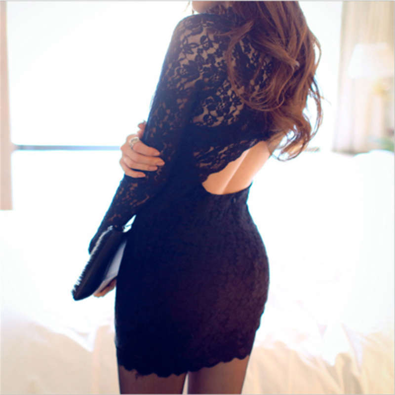 Fashion Women <font><b>Lace</b></font> Bodycon <font><b>Dress</b></font> <font><b>Female</b></font> Elegant O-Neck Long Sleeve Slim Skinny <font><b>Dresses</b></font> <font><b>Party</b></font> Cocktail Pencil <font><b>Mini</b></font> <font><b>Dress</b></font> Vestidos image