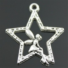 10pcs Angel Star Pendant Charms Angel Star Star Angel Charm For Jewelry Making 2 Colors Plated DIY Jewelry Accessories 30x24mm cheap WYSIWYG Zinc Alloy Sun Moon Stars Fashion Metal Vintage
