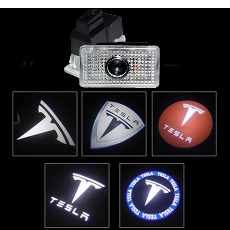 2Pcs For Tesla MODEL 3 S X Logo Projector LED Decorative Lamp Car Door Welcome Lights Shadow Light