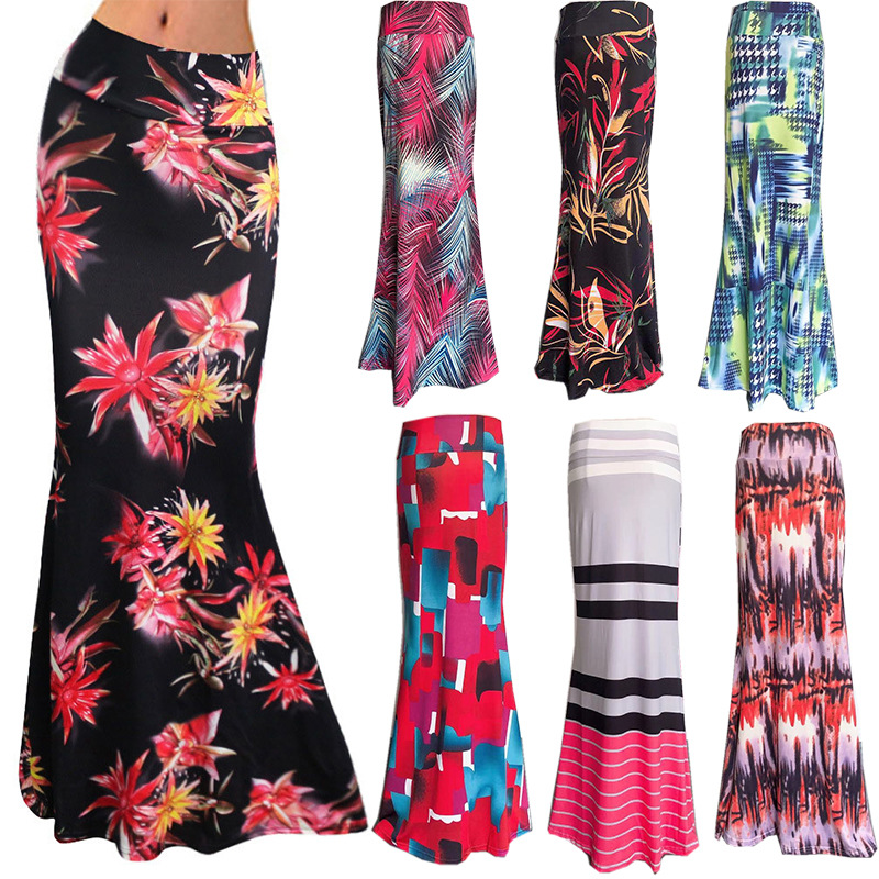 S-3xl Elastic High-waist Printed Fishtail Max Skirt Women 2020 Summer Printed Long Skirt Women Autumn Printed Plus Size Skirts