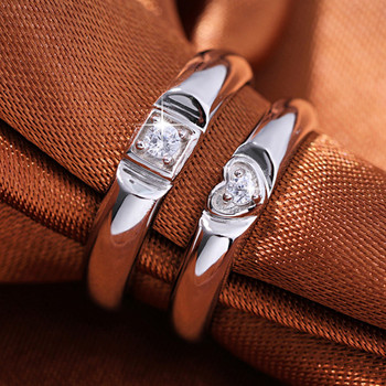 925 Sterling Silver Creative Couple Ring Opening Adjustable Zircon Silver Pair Ring wedding Anniversary Gift 5
