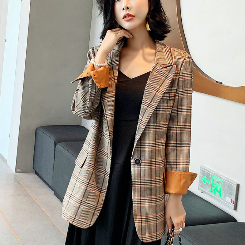 Ladies Plaid Blazer Autumn Single-breasted Loose Long-sleeved Jacket Large Size XL-5XL High Quality Office Suit Female 2019 New