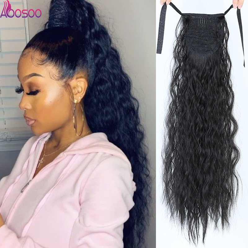 Long Curly Drawstring Ponytail Synthetic Hairpiece PonyTail HairPieces For Women  Clip In Hair Extension  22