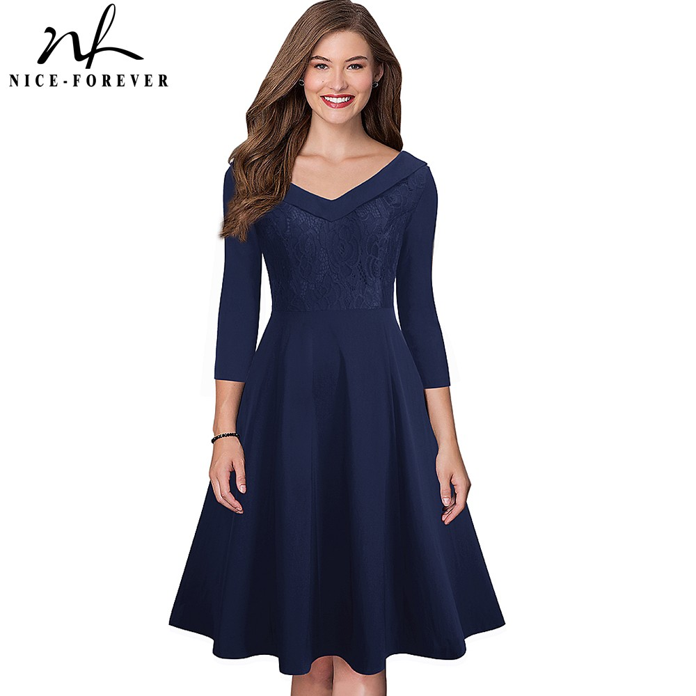 Nice-forever Elegant Embroidery Lace vestidos V neckline A-Line Pinup Party Women Flare Dress btyA068