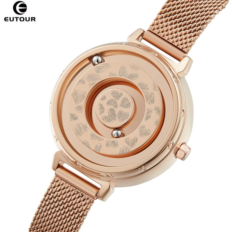 Gold Watch Woman EUTOUR E032 Magnetic Ball Show Ladies Watch Quartz Women's Watches Luxury Heart Wristwatches Gift Box Dropship