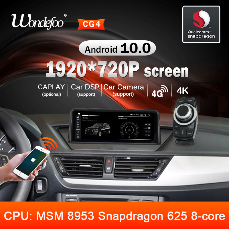 Snapdragon 1920*720p tela android 10 carro rádio gps para bmw x1 e84 2009 2010 2011-2015 navegação multimídia player sem dvd