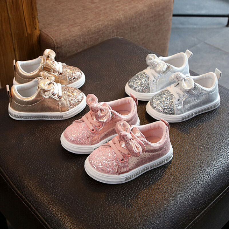1-3Years Infant Toddler Baby Girls Bling Crib Pram Shoe With Bow Soft Sole Casual Shoes