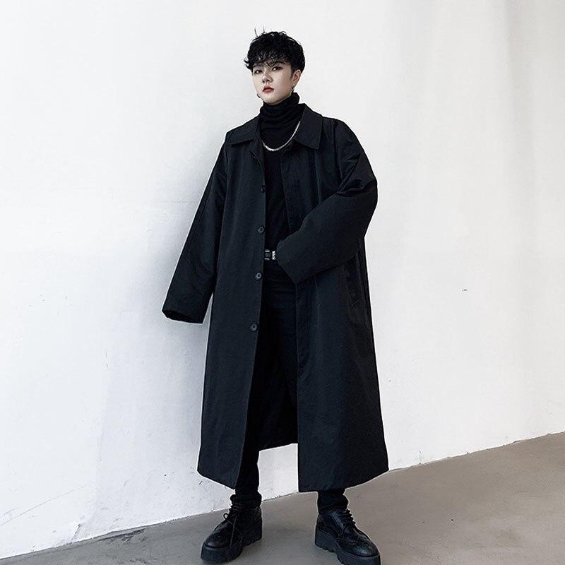 Men Loose Casual Long Cardigan Jacket Male Women Vintage Japan Streetwear Trench Coat Windbreaker Outerwear Overcoat