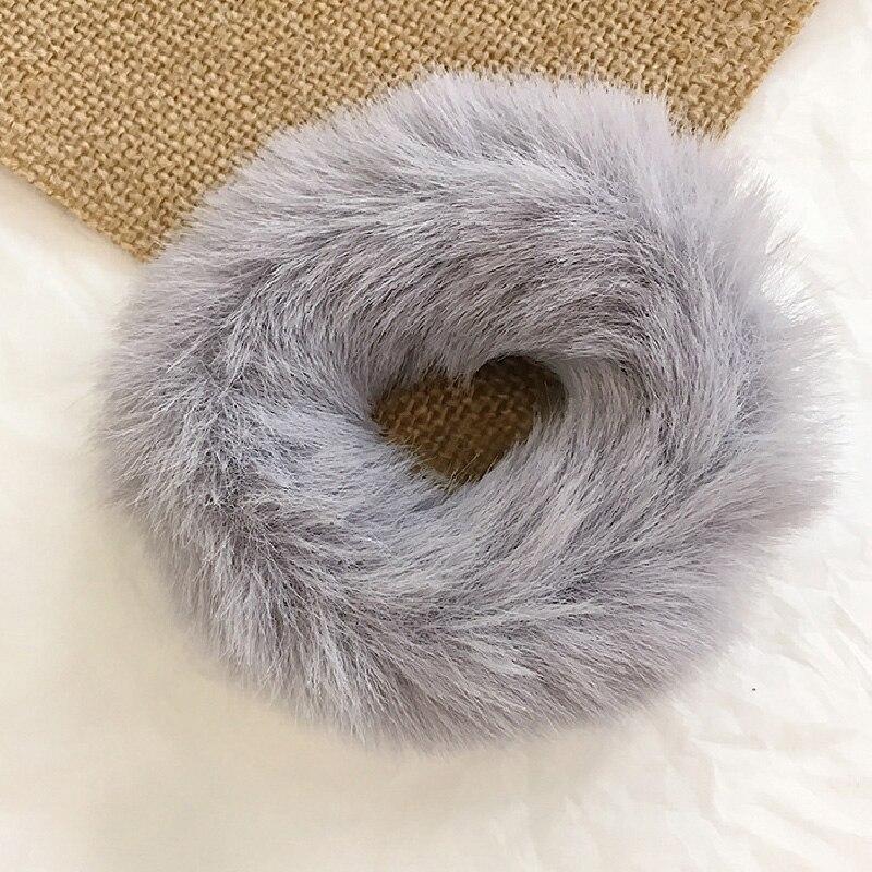 Новые зимние теплые мягкие резинки из кроличьего меха для женщин и девушек, эластичные резинки для волос, плюшевая повязка для волос, резинки, аксессуары для волос - Цвет: 38