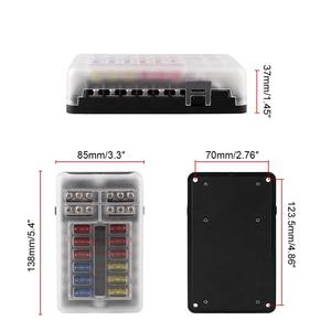 Image 4 - 12V 32V Plastic Cover Fuse Box Holder M5 Stud With LED Indicator Light 6 Ways 12 Ways Blade for Auto Car Boat Marine Trike