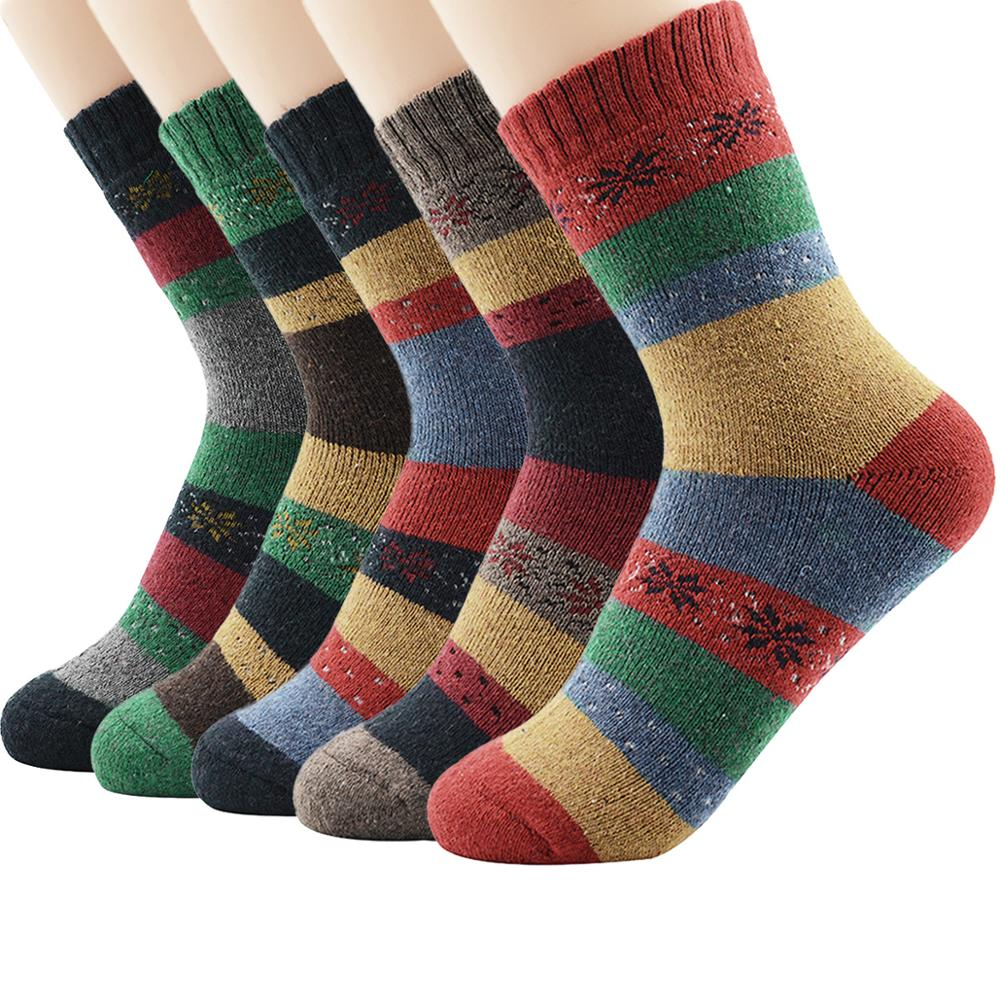 5 Pairs/Lot 2019 Newest Winter Warm Colorful Men's Combed Cotton Wool Socks Novelty Dress Casual Crew Happy Wedding Socks