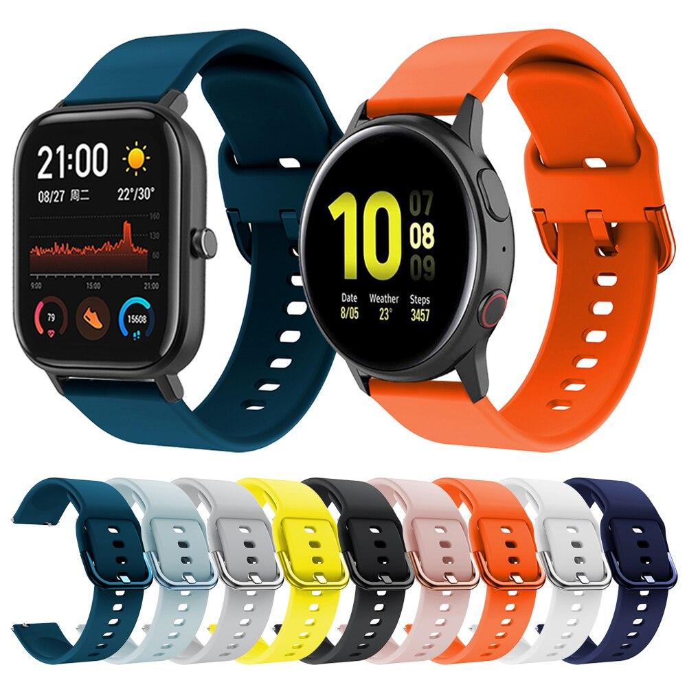 20Mm Siliconen Band Voor Samsung Galaxy Horloge Actieve 2 40 44Mm Band Voor Amazfit Gts Bip S/haylou LS02/Colmi P8 Armband Horlogeband