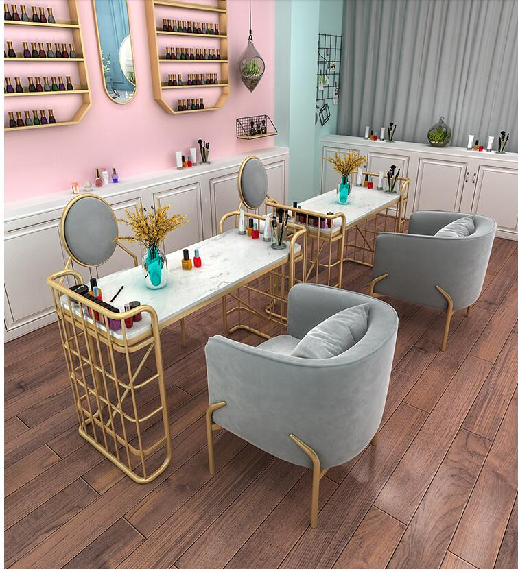 Nordic Marble Nail Table Shop Decoration Table And Chair Set Single Double People Manicure Table Manicure Table Simple And Moder