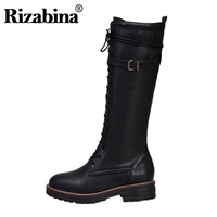 RIZABINA 2020 New Women Knee High Boots Round Toe Zipper Buckle Long Boots Solid Color Winter Warm Women Footwear Size 34 43