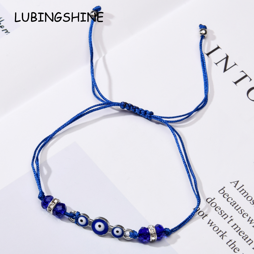 60pcs/lot Couples Women Blue Turkish Evil Eye Charms Bracelets Crystal Bead Adjustable Rope Chain Anklets Child Girl Jewelry