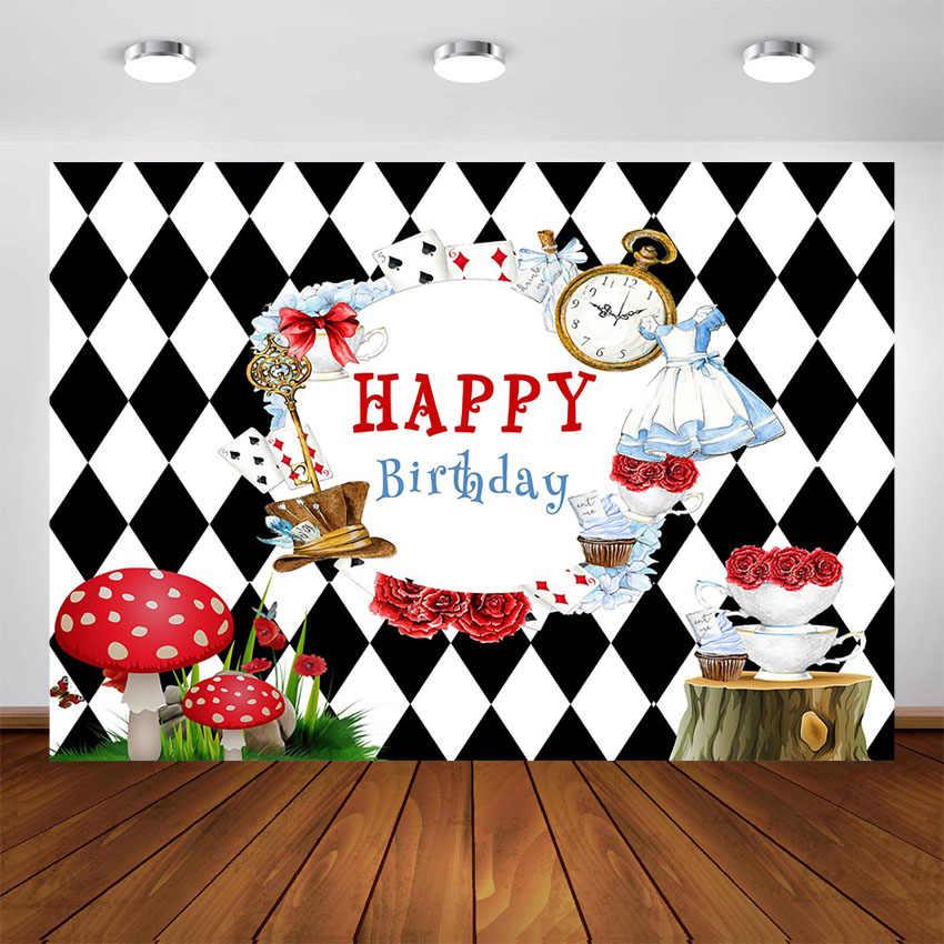 Alice nel Paese Delle Meraviglie Di Compleanno Sfondo Della Ragazza Del Bambino Di Compleanno Tea Party Fotografia Sfondi per Foto in Studio