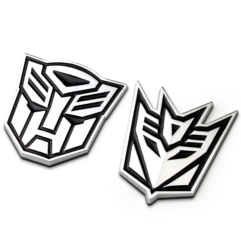 Adesivo de metal 3d autobot logotipo transformadores emblema guarnição do corpo do carro tronco emblema decoração acessórios