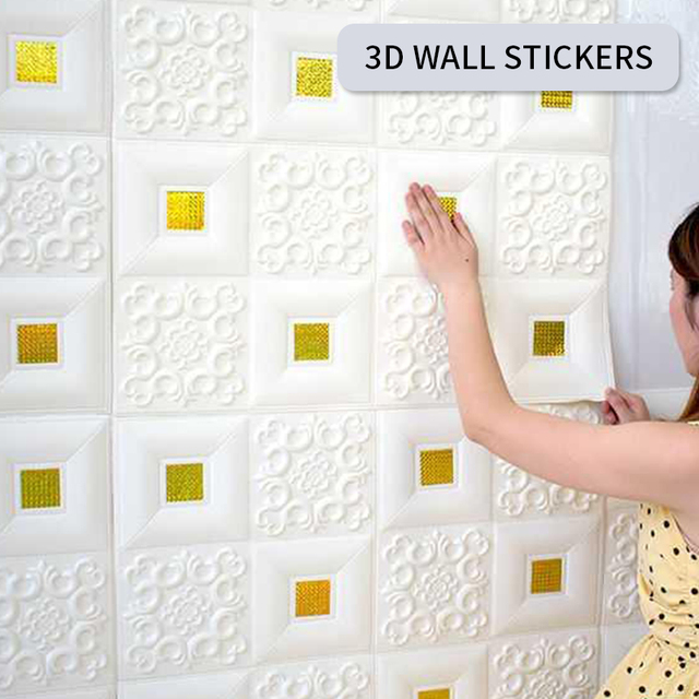 3D Wallpaper DIY Marble Sticker Waterproof Stickers Wall Papers Home decor Kids Room 3D Self-Adhesive Brick Home Improvement