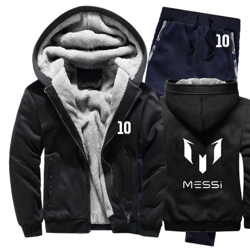 Winter Hoodies Men Messi 10 Print Mens Hoodies Suit Thicken Warm Fleece Cotton Zipper Tracksuit Mens Jacket+Pants 2Pcs Sets