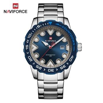 NAVIFORCE 9178 Waterproof Analog Date Quartz Watch Men's Silver Full Steel with box