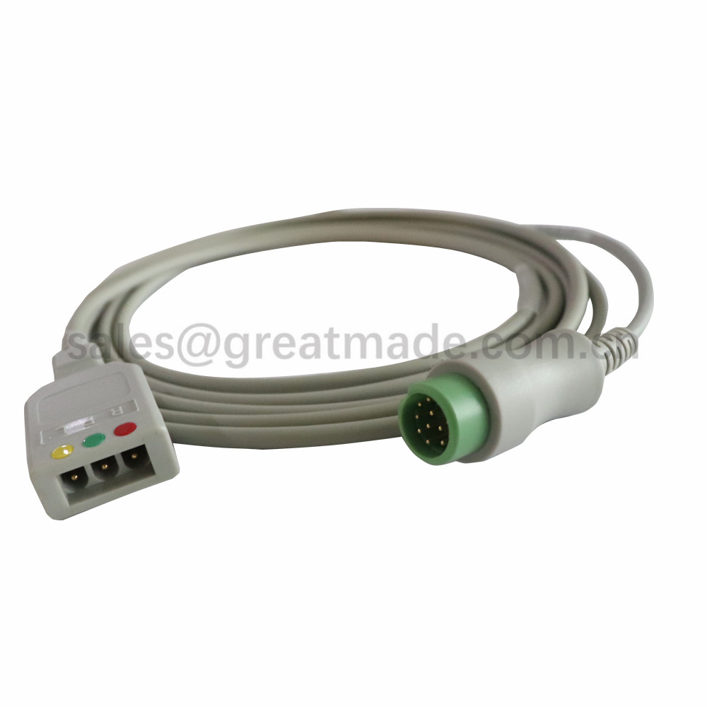 ECG Cable 3-lead trunk cable for BENEVIEW T5 T6 T8,BIOCARE IM12 , PM900S