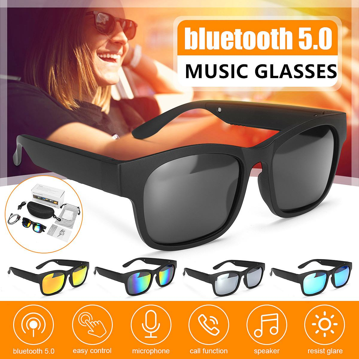 3IN1 Bluetooth 5.0 Polarized Smart Glasses Sports Headphone Sunglasses IPX7 Headset Earphone Speakers With Mic Driving Sun Glass