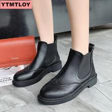 2019 fashion ankle boots Pu leather womens work shoes round head short tube black female winter
