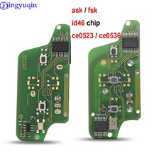 Jingyuqin placa para chave remota, controle ASK/FSK, para Peugeot 207 307 308 407 607 807, para Citroen C2 C3 C4 C5 C6 CE523 CE536 7941 7946 Id46