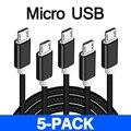 5 упак. Micro USB быстрой зарядки для samsung 1 м 2 м 3 м кабель синхронизации данных Шнур для huawei xiaomi Android мобильных телефонов Зарядное устройство 5V2. 4A - фото