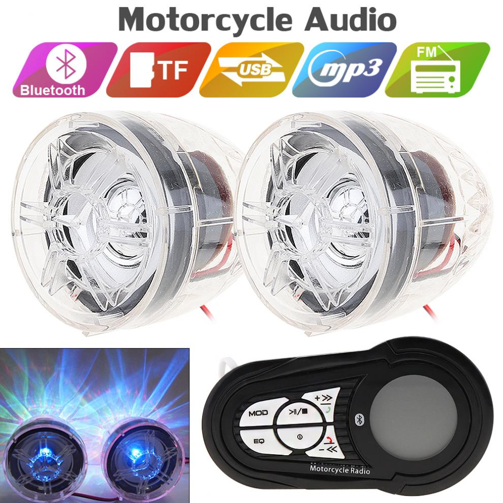 2pcs 30W Motorcycle Waterproof Anti-theft Bluetooth MP3 Speaker Support AUX-IN Audio Input And USB/TF For Motorcycle And Scooter